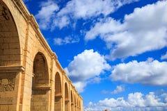 Upper Barrakka Gardens, Valletta, Malta. Terrace under blue sky with few white clouds. Upper view. Upper Barrakka Gardens, Valletta, Malta. Stone terrace under Royalty Free Stock Images