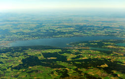 Upper Bavaria, Germany. Aerial view of lake Ammer in Upper Bavaria, Germany stock photography