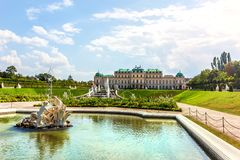 Upper Belvedere Palace and the fountain in Vienna, Austria stock photography