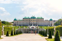 Upper Belvedere Palace, view from the fountain stock images