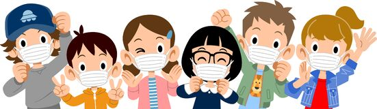 Free Upper Body Of Energetic Children Wearing Masks Stock Photography - 180886952
