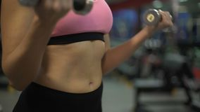 Upper body of sporty girl simultaneously lifting dumbbells, workout in gym. Stock footage stock video footage