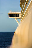 Upper captain deck on big luxury cruise view from balcony in sun Royalty Free Stock Photos