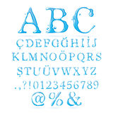 Upper-case do alfabeto da água ilustração do vetor