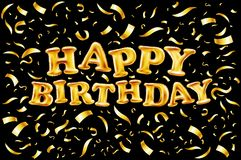 Upper case letters HAPPY BIRTHDAY from gold balloons lettering on golden confetti black background greeting card Royalty Free Stock Image