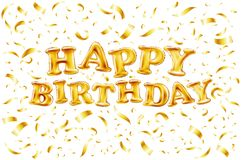 Upper case letters HAPPY BIRTHDAY from golden balloons Royalty Free Stock Photos