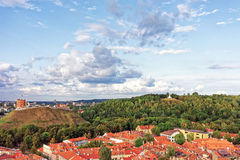 Upper Castle and Hill of Three Crosses in Vilnius Royalty Free Stock Photo