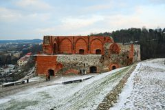 Upper castle keep on Gediminas Hill is a part of Vilnius Castle Complex Stock Image