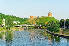 Upper Castle and Neris River at the Mindaugas Bridge Royalty Free Stock Photo