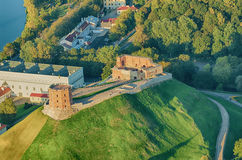 Upper Castle  in Vilnius, Lithuania. Old Town of Vilnius, Lithuania. Aerial view from piloted flying object. Upper Castle Stock Photos