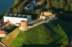 Upper Castle  in Vilnius, Lithuania. Old Town of Vilnius, Lithuania. Aerial view from piloted flying object. Upper Castle Stock Photography