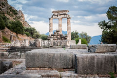 Upper Central Greece, August 2015, Delphi ancient sanctuary - The Delphic Tholos. Ancient ruinc, old religion cult place Royalty Free Stock Photos