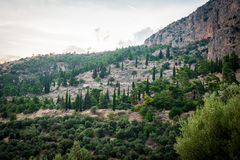 Upper Central Greece, August 2015, Delphi ancient sanctuary - The Delphic Tholos. Ancient ruinc, old religion cult place Stock Image