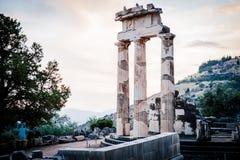 Upper Central Greece, August 2015, Delphi ancient sanctuary - The Delphic Tholos. Ancient ruinc, old religion cult place Stock Photos