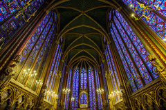 Upper chapel in Sainte Chapell, Paris France Royalty Free Stock Image