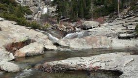 Upper Chilnualna Falls And River Yosemite California. Falls And River Over Granite Rock Yosemite California stock footage