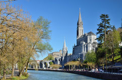 Upper church in Lourdes Stock Photo