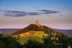 Upper church with two towers in Banska Stiavnica, Slovakia Stock Photo
