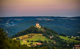 Upper church with two towers in Banska Stiavnica, Slovakia Royalty Free Stock Photography