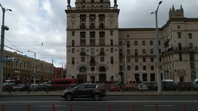 View of stalinist empire style buildings stock video