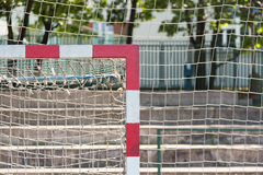 Upper corner of a goal post and bar in an outdoor football field Royalty Free Stock Photo