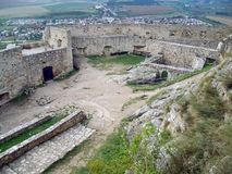 Upper courtyard of Spis Castle. Summer view of upper courtyard with ruins of interior fortification walls at famous Spis castle (Spissky hrad). In background can royalty free stock image