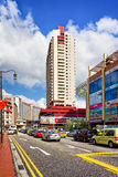 Upper Cross street and car traffic in Singapore China town. Singapore, Singapore - March 1, 2016: Upper Cross street with car traffic in China town, in Singapore stock images