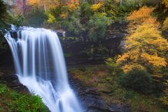 North Carolina Waterfall with Autumn Color stock photo