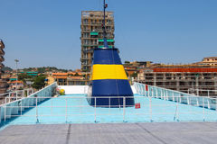 Upper deck of the ferry ship from the company Corsica Ferries Royalty Free Stock Images