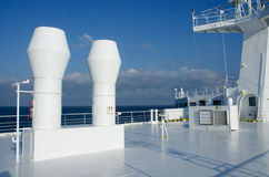 Upper deck of passenger ferryboat with ventilation pipes Stock Image