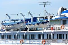 Upper deck of the river passenger liner Stock Image