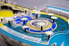 Upper deck on the scale model of a cruise liner royalty free stock photo