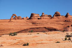 Arch National Park 1. From Upper Delicate Arch Viewpoint to catch the distance view of delicated Arch Royalty Free Stock Photos