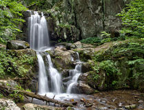Upper Doyles River Falls in Shenandoah National Park. A close up view of the twin cascading falls that form Upper Doyles River Falls, located in off of Skyline Stock Photos