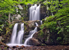 Upper Doyles River Falls in Shenandoah National Park. A close up view of the twin cascading falls that form Upper Doyles River Falls, located in off of Skyline Royalty Free Stock Photo