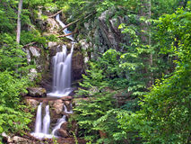 Upper Doyles River Falls in Shenandoah National Park. A panoramic view of the twin cascading falls that form Upper Doyles River Falls, located in off of Skyline Stock Images