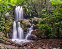 Upper Doyles River Falls in Shenandoah National Park. A view of the twin cascading falls that form Upper Doyles River Falls, located in off of Skyline Drive in Royalty Free Stock Photo