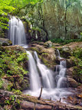 Upper Doyles River Falls in Shenandoah National Park. A view of the twin cascading falls that form Upper Doyles River Falls, located in off of Skyline Drive in Royalty Free Stock Images