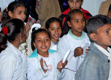 Upper egypt children gather in class in Giza, Egypt. Upper Egypt children gather in class for celebration, to celebrate a UN charity event in giza Egypt stock photo