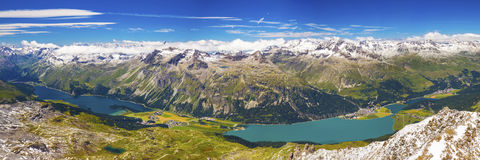 Upper Engadin Valley near Sankt Moritz in Swiss Alps Royalty Free Stock Photos