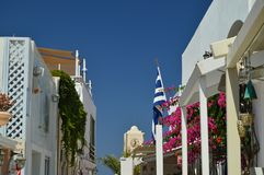 Upper Facade Of The Buildings On The Beautiful Main Street Of Oia On The Island Of Santorini. Architecture, landscapes, travel, cr. Uises. July 7, 2018. Island royalty free stock images