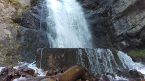 Upper Falls. A bottom up panning shot of Upper Falls in Provo Canyon, Utah stock video footage