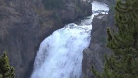 Upper falls in the Grand Canyon of Yellowstone stock footage