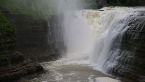 Upper Falls. Letchworth State Park, New York stock footage
