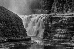The Upper Falls At Letchworth State Park. In New York In Black And White Royalty Free Stock Image
