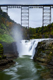 Upper Falls at Letchworth State Park - Waterfall and Railroad Bridge - New York Stock Photography