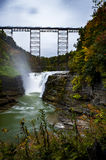 Upper Falls at Letchworth State Park - Waterfall and Railroad Bridge - New York Stock Image