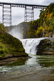Upper Falls at Letchworth State Park - Waterfall and Railroad Bridge - New York Royalty Free Stock Images