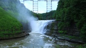 Upper Falls and Portage Viaduct. Letchworth State Park, New York stock video