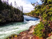Upper Falls, Yellowstone River, Yellowstone National Park, UNESCO World Heritage Site, Wyoming, United States of America. From walkway stock photos